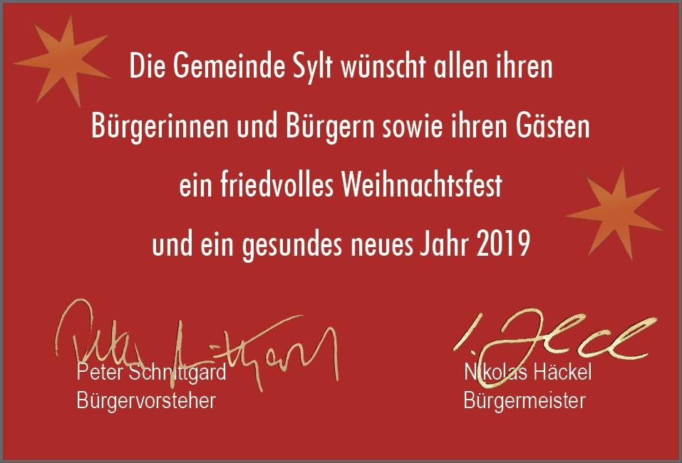 Frohe Weihnachten Und Ein Gutes Neues Jahr 2019 Gemeinde Sylt