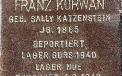 Stolperstein – Korwan, Franz (geb. Katzenstein, Sally)