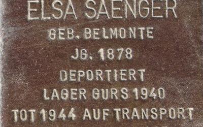Stolperstein – Saenger, Elsa Auguste Abendana (geb. Belmonte)