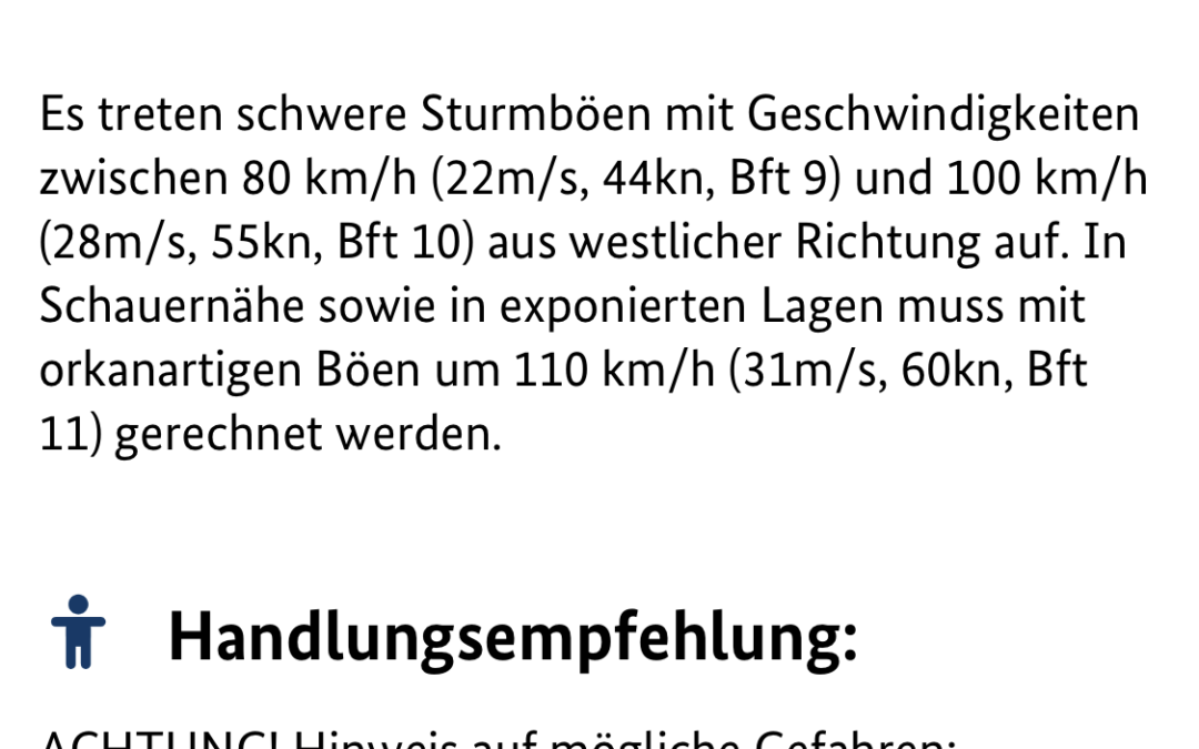 Amtliche WARNUNG vor SCHWEREN STURMBÖEN 12.03.2020