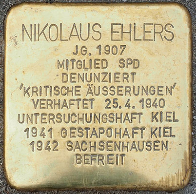 Stolperstein – Ehlers, Nikolaus
